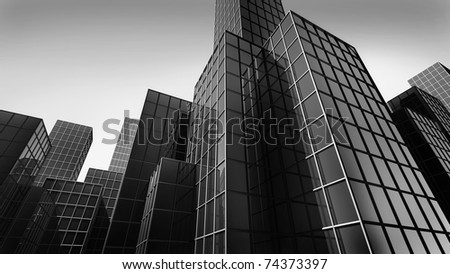 modern glass texture of mansion perspective view 3d render - stock photo