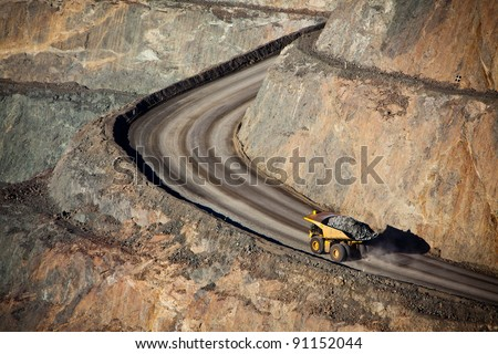 Modern Gold Mine in Kalgoorlie, Western Australia. Large truck transports gold ore from the Super Pit, Open cast mine. - stock photo