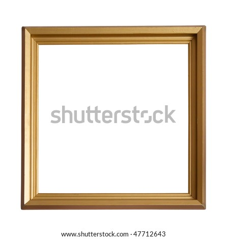 Modern gold picture frame, isolated with clipping path