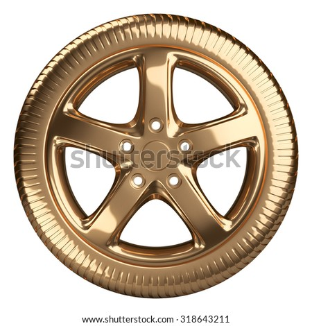 Modern golden car wheel front view isolated on a white background. 3d illustration high resolution - stock photo