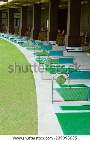modern golf course driving range - stock photo
