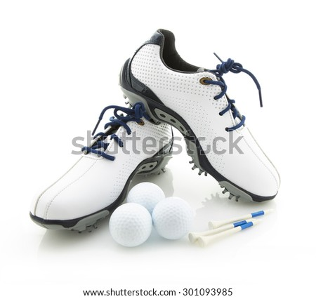 Modern Golf Shoes With Balls and Tees on a White Background