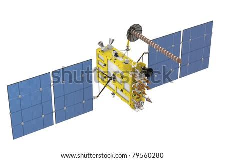 Modern GPS satellite isolated on white - stock photo