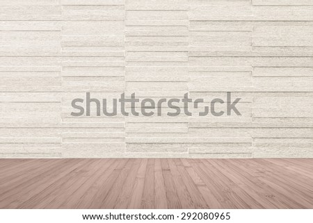 Modern granite tile wall pattern textured background in light sepia cream beige color with wooden floor in red brown color tone : Horizontal stone tile wall pattern texture with wood flooring         - stock photo