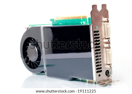 Modern graphic adapter over white - stock photo