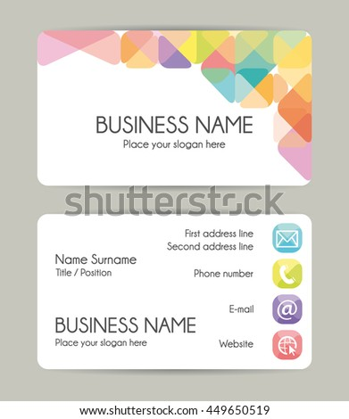 Modern graphic business card template. - stock photo