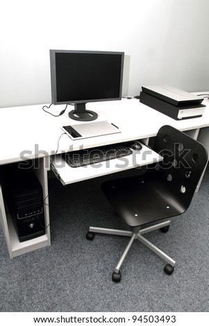 modern graphic studio with tablet and scanner - stock photo