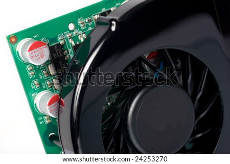 Modern graphics card closeup over white - stock photo
