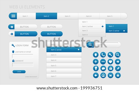 modern gray and blue web ui elements, bitmap copy