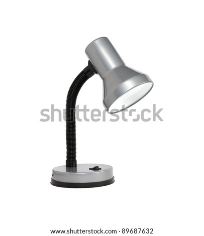 Modern gray desk lamp isolated on white background with clipping path