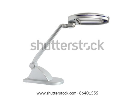 Modern gray desk lamp on white background. Isolated with clipping path