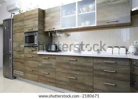 Modern gray green wood kitchen in interior