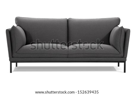 modern gray sofa isolated on white background, front view, studio shot - stock photo