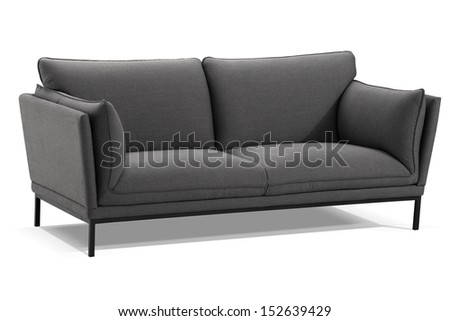 modern gray sofa isolated on white background, studio shot - stock photo