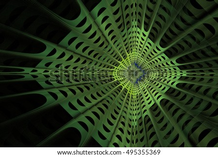 Modern green and grey woven network / diamond design on black background