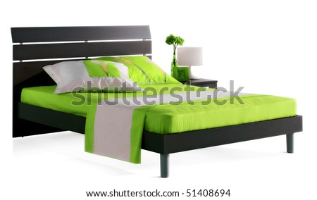 modern green bed - stock photo