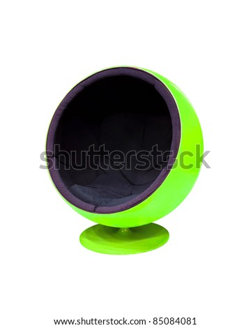Modern green cocoon ball chair isolated on white background - stock photo