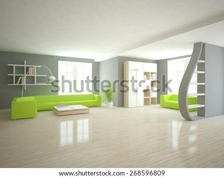 modern green interior design-3D rendering - stock photo