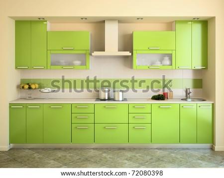 Modern green kitchen interior. 3d render. - stock photo