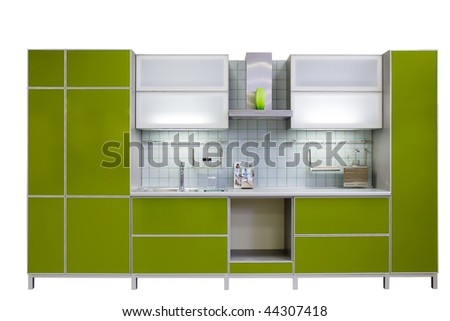 modern green kitchen isolated on white background - stock photo