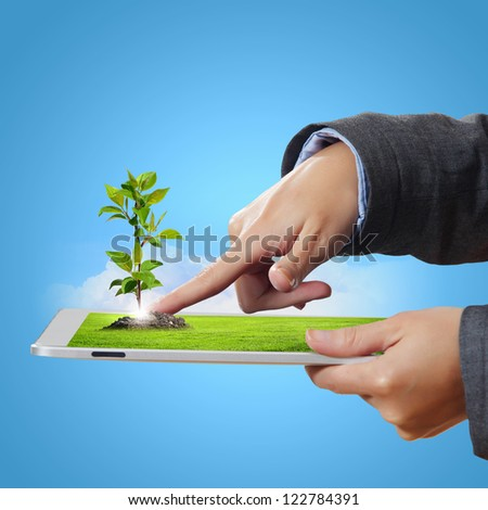 Modern green technology for ecology protection illustration - stock photo