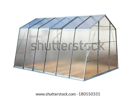 Modern greenhouse isolated on a white background. - stock photo