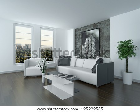 modern black and white living room. Modern grey and white sitting room interior with a comfortable lounge  suite modern art Stylish Black White Living Room Stock Illustration