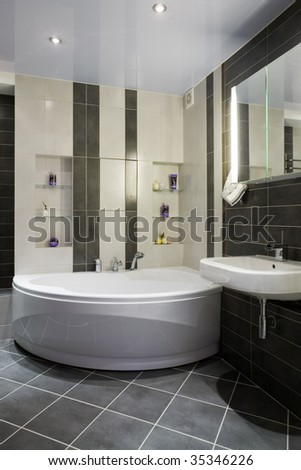MODERN GREY BATHROOM - stock photo