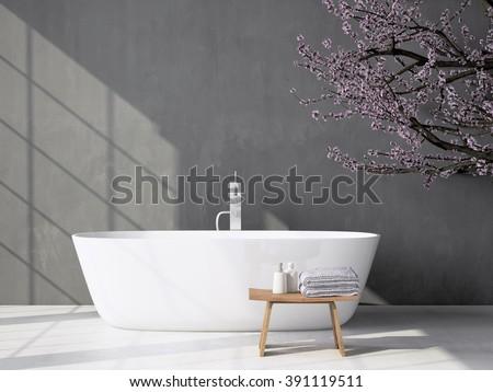Modern grey bathroom with bathtub. 3d rendering - stock photo