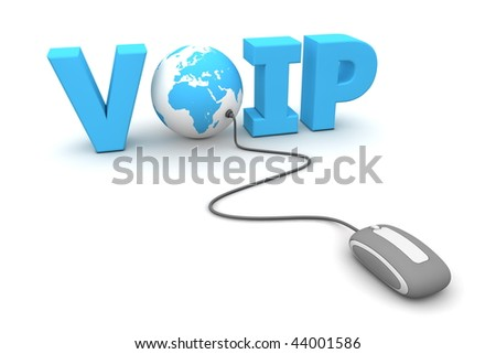 modern grey computer mouse connected to a blue globe in the the blue word VOIP