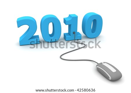 modern grey computer mouse connected to the blue date 2010 - welcome the new year - stock photo