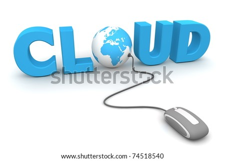modern grey computer mouse connected to the blue word Cloud - letter O is replaced by a globe - stock photo