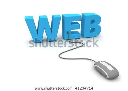 modern grey computer mouse connected to the blue word Web