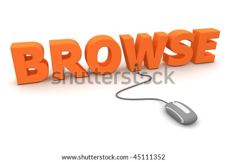 modern grey computer mouse connected to the orange word Browse