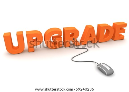 modern grey computer mouse connected to the orange word Upgrade - stock photo