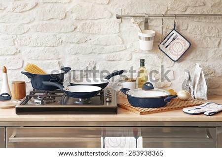 modern grey kitchen - stock photo