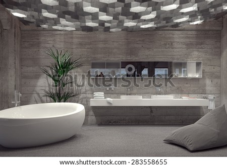 Modern grey luxury bathroom interior with a free-standing boat-shaped bathtub and double vanity lit by an array of hexagonal down lights. 3d Rendering. - stock photo