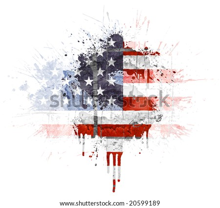 Modern grunge splatter design with American flag, Dollar symbol. Distressed grungy look with ink drop explosion. - stock photo
