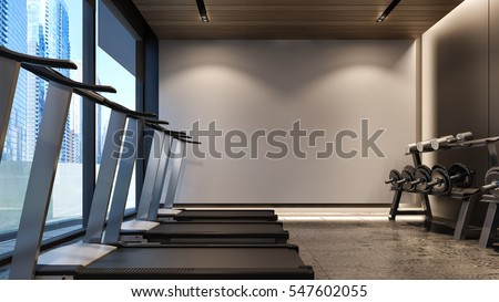 Modern Gym With White Wall 3D Rendering