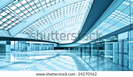 modern hall in T3 airport of beijing - stock photo