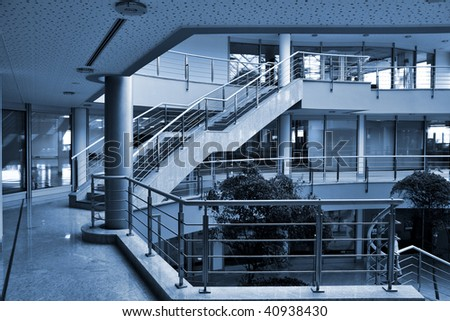 modern hall inside office centre - stock photo