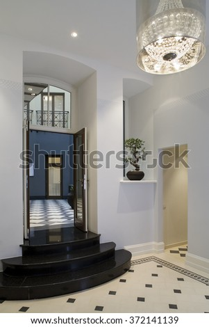 Modern hall interior in private house.  Hall, waiting room. - stock photo