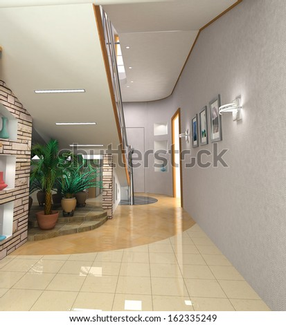 modern hall  interior with stair - stock photo