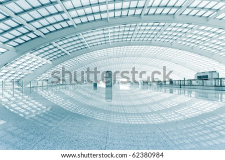 modern hall of subway station  at T3 airport in beijing china. - stock photo