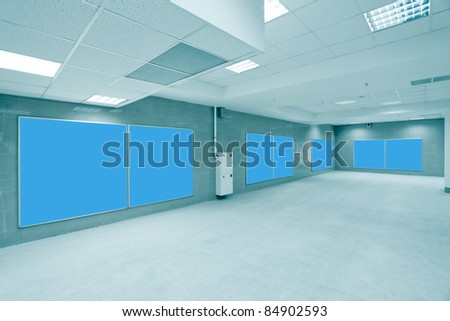 modern hall with blue placards - stock photo
