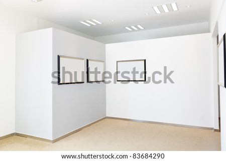 Modern hall with Exhibition frames
