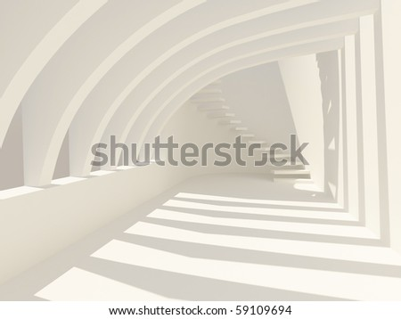 Modern hall with stairs - stock photo