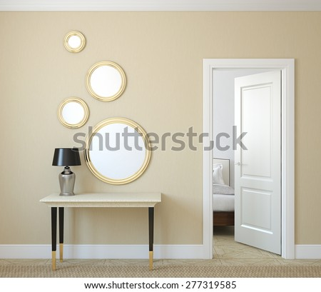 Modern hallway with open door. 3d render. - stock photo