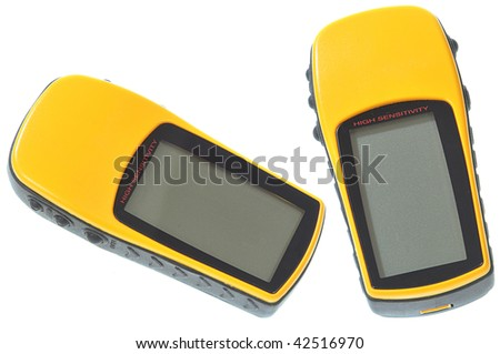 Modern hand held GPS unit isolated on white - stock photo