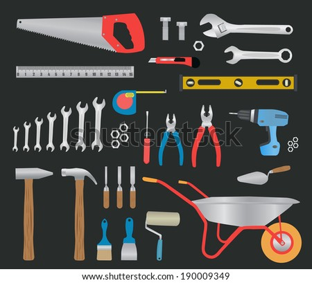 Modern hand tools. instruments collection for metalwork, woodwork, mechanical and measuring works. Raster version - stock photo